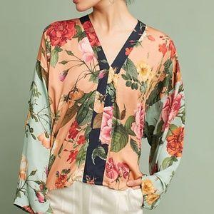 Farm Rio Anthropologie Kimono Floral Blouse M